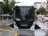 Θεσσαλονίκη: Λεωφορείο βούλιαξε στην άσφαλτο